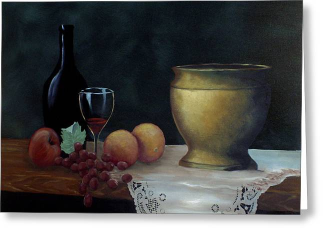 Greeting Card featuring the painting Still Life by Debra Crank