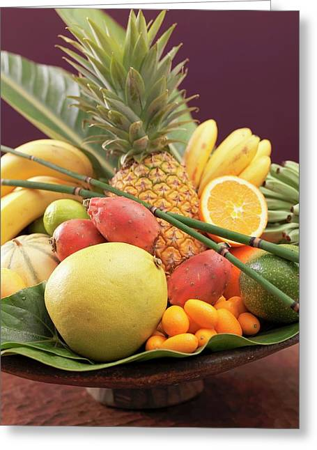 Still Life: Exotic Fruit In Wooden Bowl (detail) Greeting Card