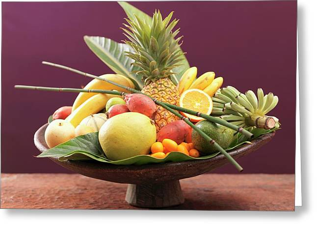 Still Life: Exotic Fruit In Wooden Bowl Greeting Card