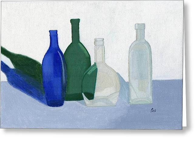 Still Life - Glass Bottles Greeting Card by Bav Patel