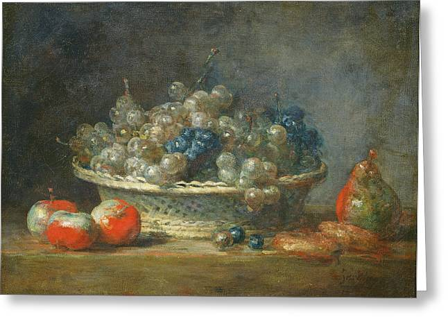 Still Life Grape Basket With Three Apples, A Pear And Two Marzipans, 1764 Oil On Canvas Greeting Card by Jean-Baptiste Simeon Chardin