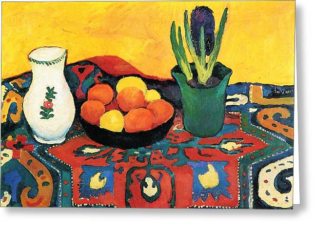 Greeting Card featuring the painting Still Life Hyacinths Carpet  by August Macke