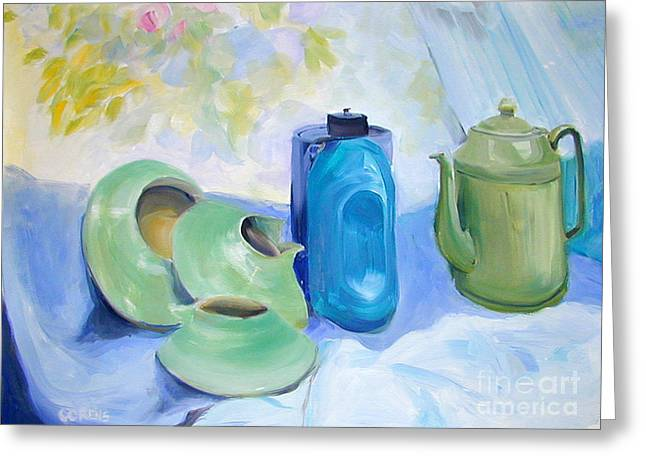 Greeting Card featuring the painting Still Life In Blue And Green Pottery by Greta Corens