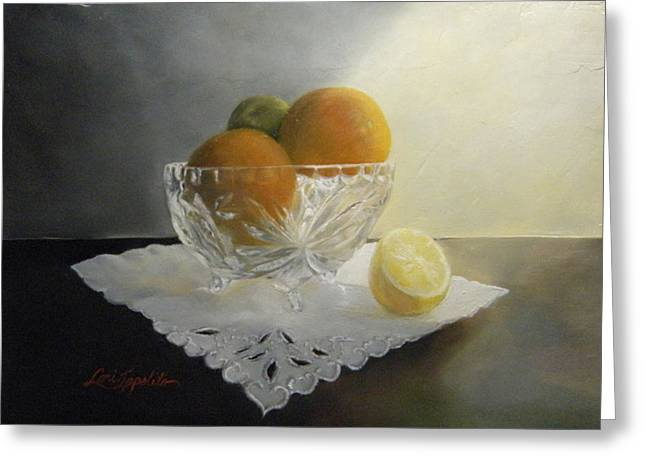 Still Life In Crystal Greeting Card by Lori Ippolito