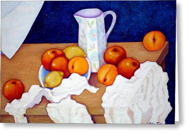 Still Life In Honor Of Cezanne   Greeting Card by Madalena Lobao-Tello