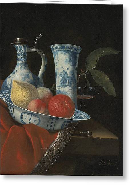 Still Life Of A Blue And White Wan-li Bowl  Greeting Card by Celestial Images