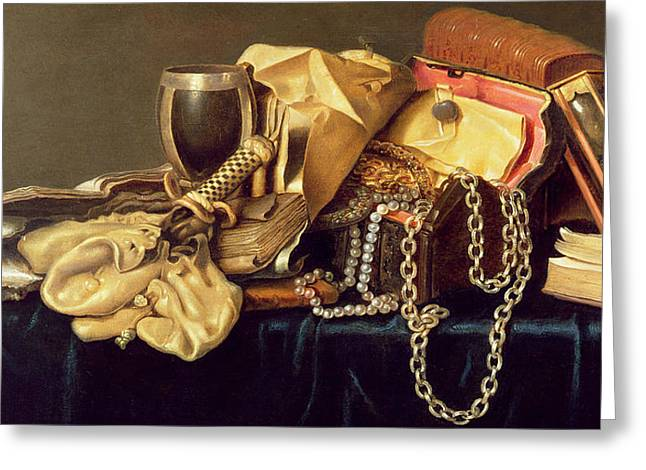 Still Life Of A Jewellery Casket Books And Oysters Greeting Card by Andries Vermeulen