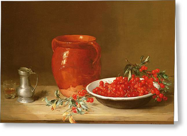 Still Life Of Cherries In A Bowl Greeting Card by Antoine Vollon