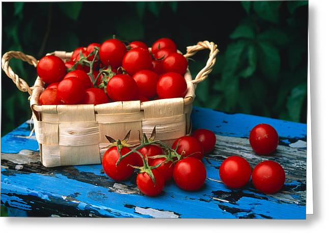 Still Life Of Cherry Tomatoes Greeting Card by Panoramic Images