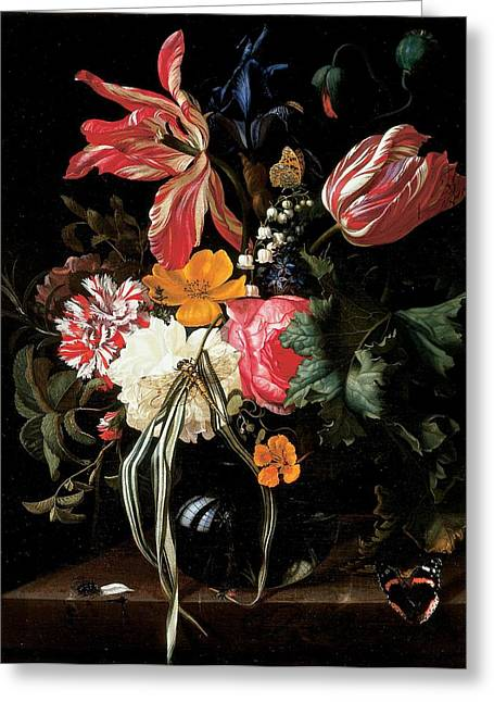 Still Life Of Flowers, 1669 Oil On Canvas Greeting Card by Maria van Oosterwyck