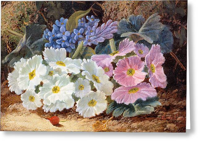 Still Life Of Flowers Greeting Card by Oliver Clare