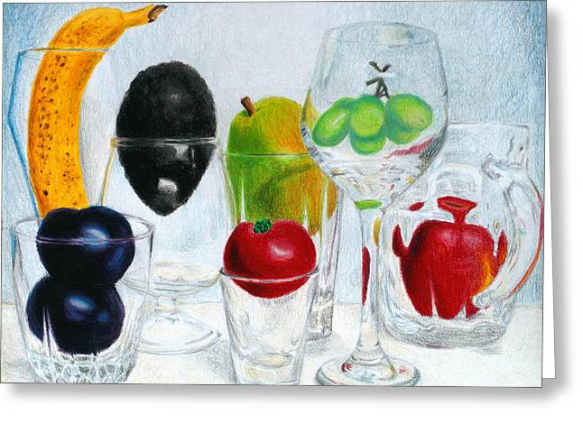 Still Life Of Fruit In Glasses Greeting Card by Christina Boyt