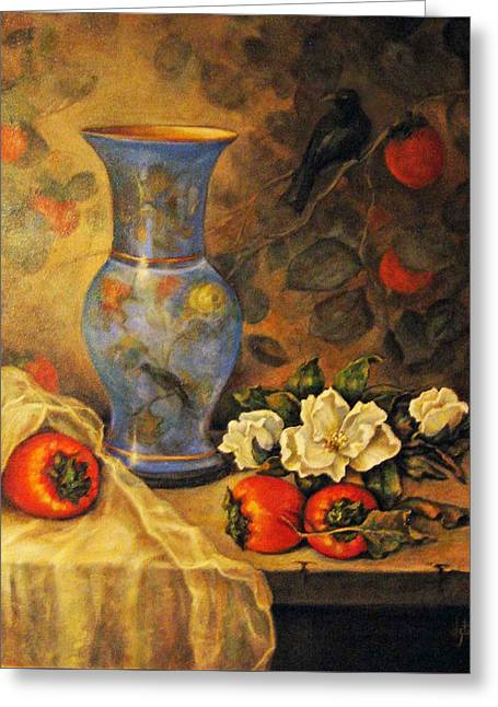 Still Life Of Persimmons  Greeting Card
