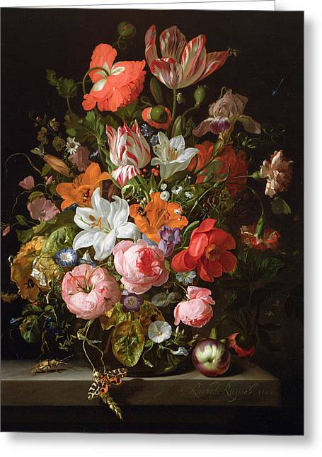 Still Life Of Roses, Lilies, Tulips And Other Flowers In A Glass Vase With A Brindled Beauty Greeting Card by Rachel Ruysch