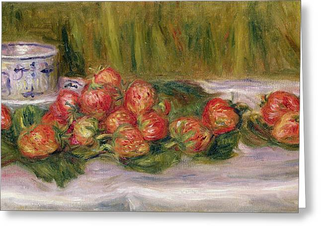 Still Life Of Strawberries And A Tea Cup Greeting Card by Pierre Auguste Renoir
