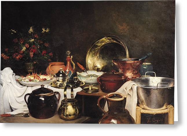 Still Life Oil On Canvas Greeting Card by Theodore Charles Ange Coquelin