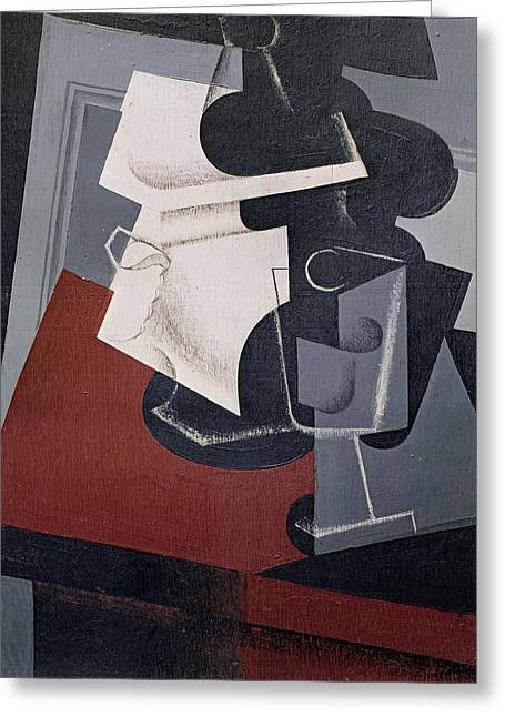 Still Life On A Table, 1916 Oil On Canvas Greeting Card by Juan Gris