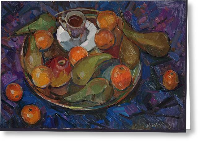Still Life On A Tray Greeting Card by Juliya Zhukova