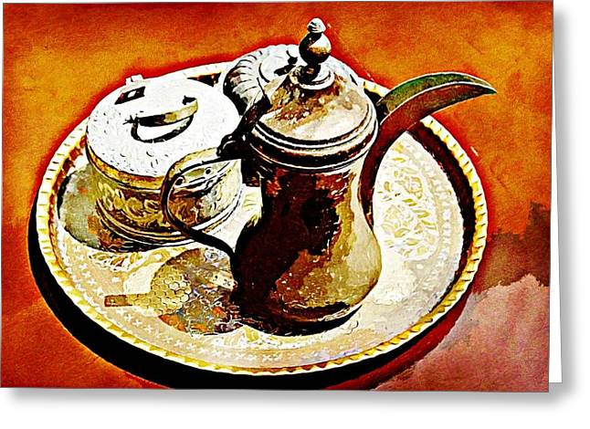 Coffee Time Greeting Card by Peter Waters