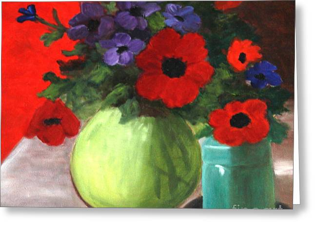 Still Life Poppies And Purple Things Greeting Card by Sherrill McCall