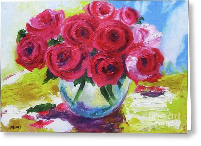 Still Life Roses Greeting Card by Venus
