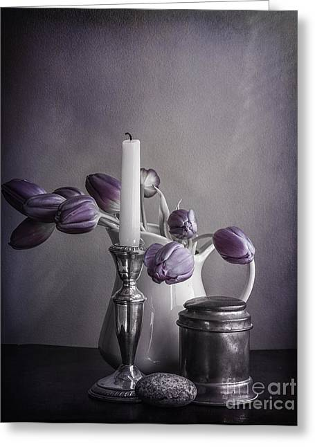 Still Life Study In Purple Greeting Card by Terry Rowe