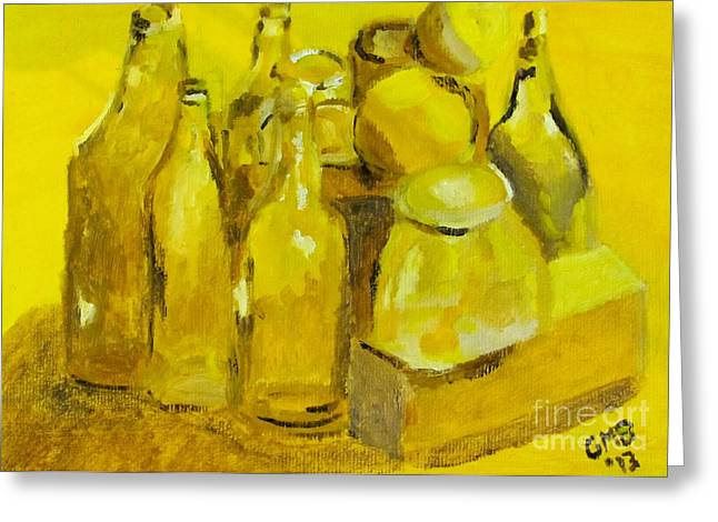 Still Life Study In Yellow Greeting Card by Greg Mason Burns