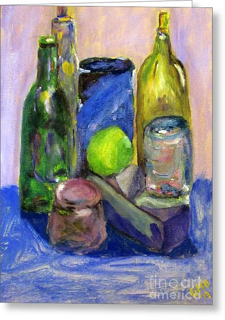 Still Life Study With Violet Background Greeting Card by Greg Mason Burns