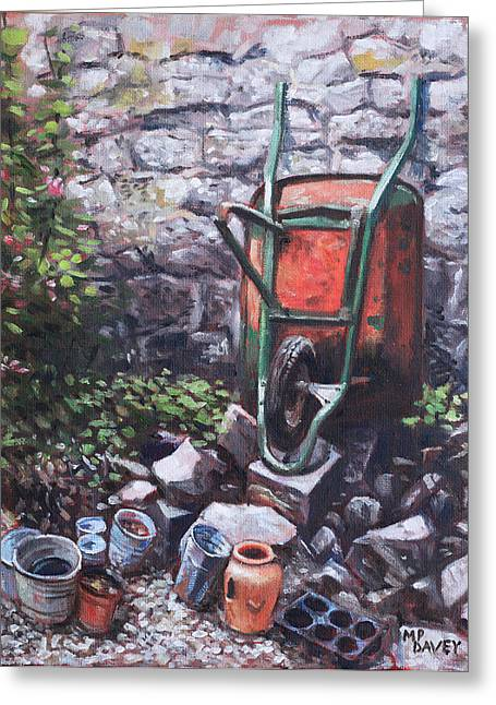 Still Life Wheelbarrow With Collection Of Pots By Stone Wall Greeting Card by Martin Davey
