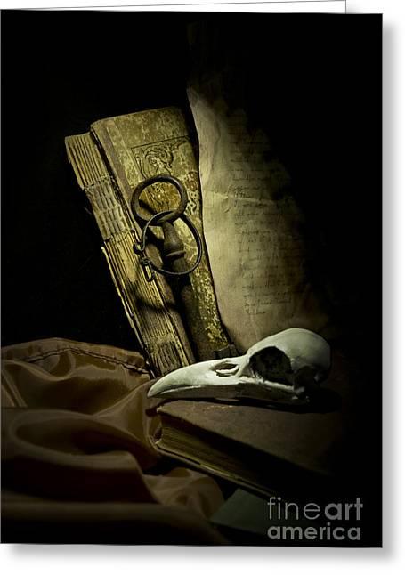 Still Life With A Bird Skull Greeting Card