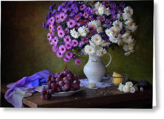 Still Life With A Bouquet Of Chrysanthemums And Grapes Greeting Card