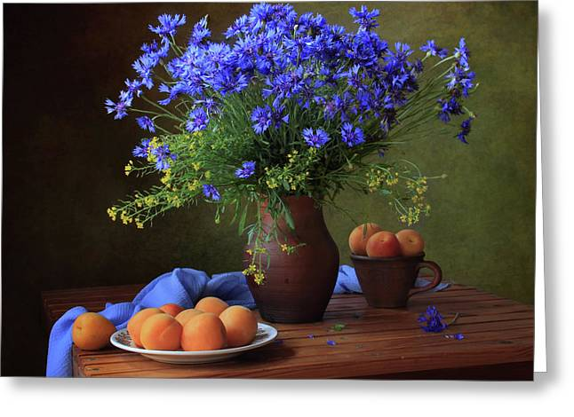 Still Life With A Bouquet Of Cornflowers And Apricots Greeting Card