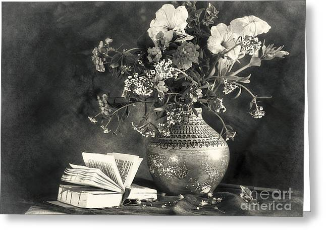 Still Life With A Bouquet Of Flowers And A Book Greeting Card