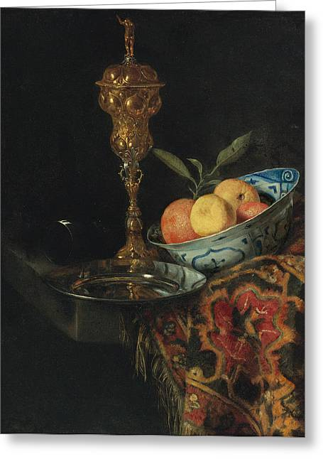 Still Life With A Bowl Of Oranges A Pewter Plate And Gilt Cup Greeting Card by Christiaen Striep attributed to