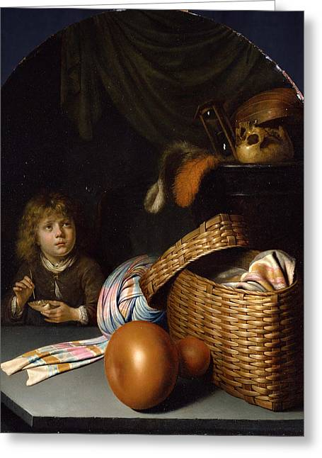 Still Life With A Boy Blowing Soap-bubbles Greeting Card by Gerrit Dou