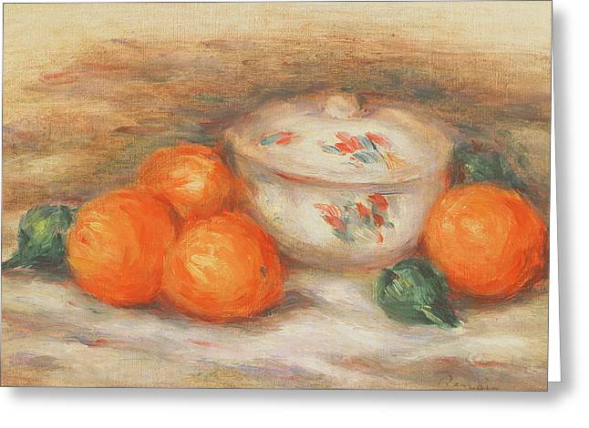 Still Life With A Covered Dish And Oranges Greeting Card by Pierre Auguste Renoir
