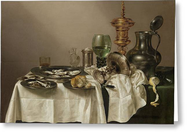 Still Life With A Gilt Cup Greeting Card by Quint Lox