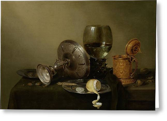Still Life With A Gilt Cup Greeting Card by Willem Claesz Heda