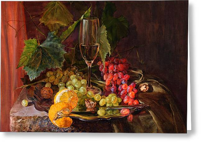 Still-life With A Glass Of Wine And Grapes Greeting Card