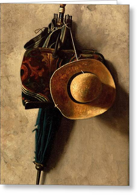 Still Life With A Hat An Umbrella And A Bag Greeting Card by John Frederick Peto