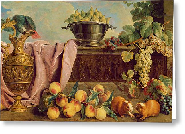 Still Life With A Jug, 1734 Oil On Canvas Greeting Card by Alexandre-Francois Desportes