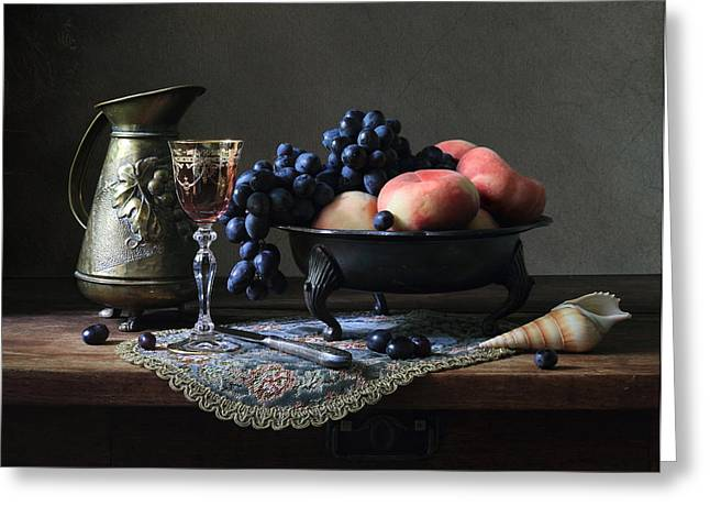 Still Life With A Jug And Fruit And A Shell. Greeting Card by Helen Tatulyan