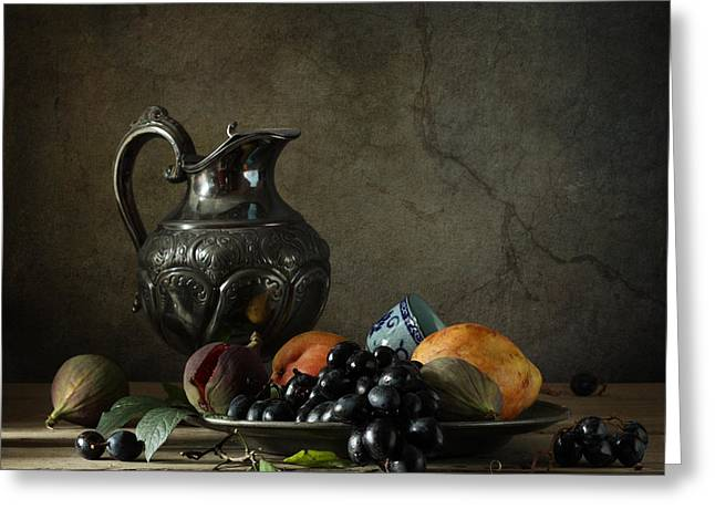 Still Life With A Jug And Fruit Greeting Card