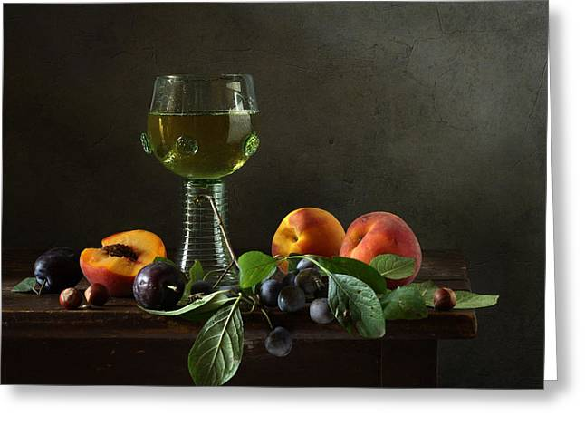 Still Life With A Roamer And Fruit Greeting Card by Diana Amelina