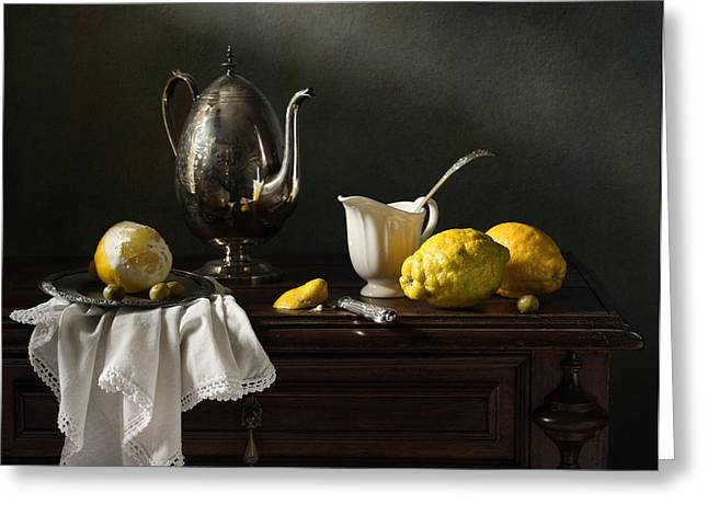 Still Life With A Silver Coffee Pot And Lemons Greeting Card by Diana Amelina