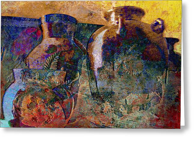 Still Life With Aged Pottery Greeting Card by John Fish