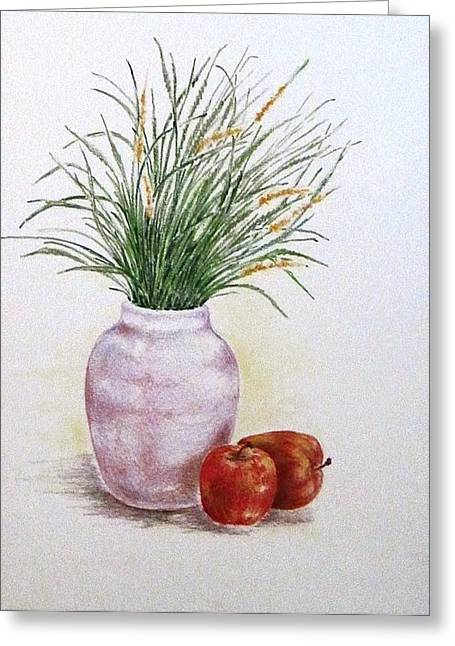 Still Life With Apples Greeting Card by Renee Goularte