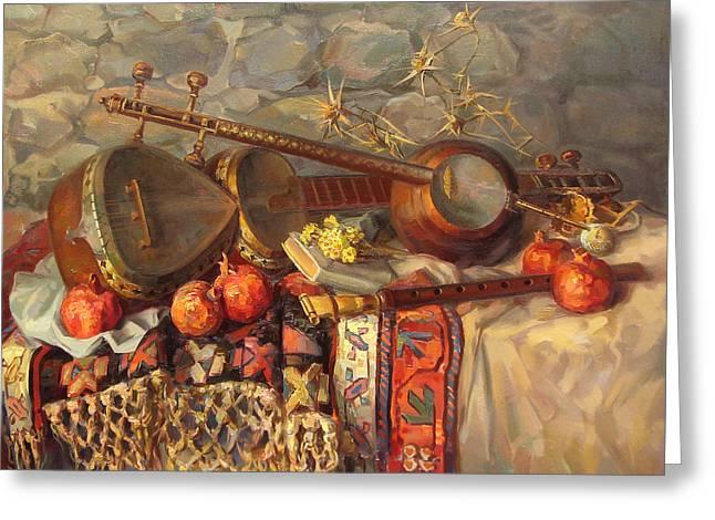 Still-life With Armenian Musical Instruments Duduk Thar And Qyamancha Greeting Card by Meruzhan Khachatryan