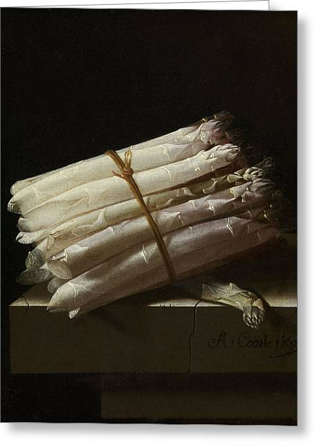 Still Life With Asparagus, Adriaen Coorte Greeting Card by Quint Lox