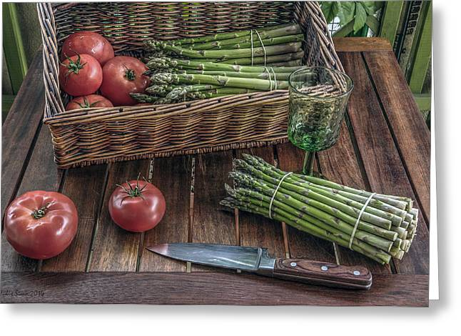 Still Life With Asparagus And Tomatoes Greeting Card